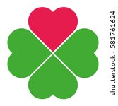 Clover With Red Heart. Logo.