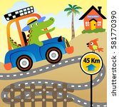 crocodile is a tourist  he... | Shutterstock .eps vector #581770390