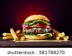 craft beef burger and french... | Shutterstock . vector #581788270