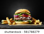 craft beef burger and french... | Shutterstock . vector #581788279