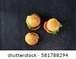 craft beef burgers with... | Shutterstock . vector #581788294