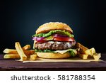 craft beef burger and french... | Shutterstock . vector #581788354