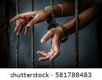 Prisoner In Prison With Handcuff