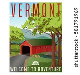 vermont travel poster or... | Shutterstock .eps vector #581791969
