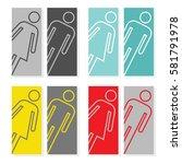 set of restroom door graphics... | Shutterstock .eps vector #581791978
