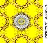 floral tiles. vector golden... | Shutterstock .eps vector #581806078