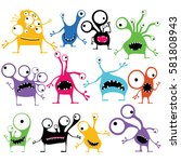set of twelve color cute... | Shutterstock .eps vector #581808943