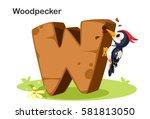 wooden textured bold font... | Shutterstock .eps vector #581813050