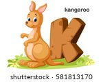 wooden textured bold font... | Shutterstock .eps vector #581813170