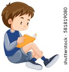 little boy reading book... | Shutterstock .eps vector #581819080