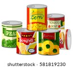 pile of different canned food... | Shutterstock .eps vector #581819230