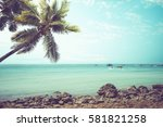 vintage tropical beach ... | Shutterstock . vector #581821258