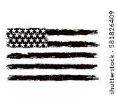 black and white american flag. | Shutterstock .eps vector #581826409