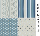 4 seamless patterns with... | Shutterstock .eps vector #581827828
