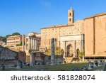 Small photo of Rome. Italy. The ruins of the Roman Forum. In the foreground the ruins of the Basilica Aemilia, 179 BC