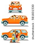 happy family traveling by car... | Shutterstock .eps vector #581831530