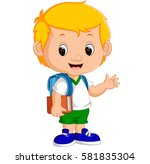 cute boy go to school | Shutterstock . vector #581835304