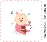cute baby girl.vector... | Shutterstock .eps vector #581838748