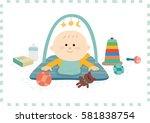 cute baby boy.vector... | Shutterstock .eps vector #581838754