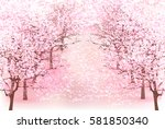 cherry spring flower background | Shutterstock .eps vector #581850340