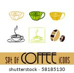 illustrated coffee icons | Shutterstock .eps vector #58185130