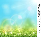 sunny spring or summer day with ... | Shutterstock . vector #581852584