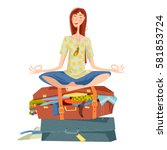 young woman sits on overflowed... | Shutterstock .eps vector #581853724