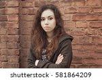 sad teen girl. introvert girl... | Shutterstock . vector #581864209