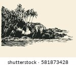 tropical coast with palm trees... | Shutterstock .eps vector #581873428