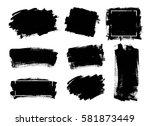 set of black paint  ink brush... | Shutterstock .eps vector #581873449