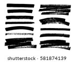 set of black paint  ink brush... | Shutterstock .eps vector #581874139