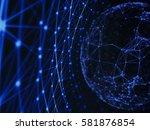 abstract technology network... | Shutterstock . vector #581876854