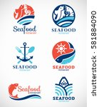 seafood restaurant  and fish... | Shutterstock .eps vector #581884090