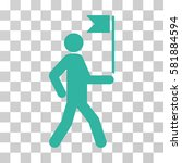 guide man with flag vector... | Shutterstock .eps vector #581884594