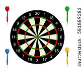 classic dart board target and... | Shutterstock .eps vector #581889283