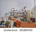 modern trending interior... | Shutterstock . vector #581889550