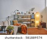 modern trending interior... | Shutterstock . vector #581889574