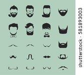 hipster hair and beards... | Shutterstock .eps vector #581893003