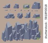 rock stone vector icon. set of  ... | Shutterstock .eps vector #581893018
