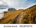 small path at mangart  located... | Shutterstock . vector #581895076