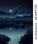 comet over deep forest and... | Shutterstock .eps vector #581899750
