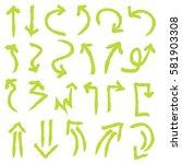 hand drawn arrows in green. ... | Shutterstock .eps vector #581903308