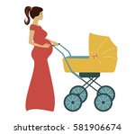 cartoon pregnant woman with... | Shutterstock .eps vector #581906674