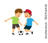 Two Boys Playing Ball. Vector...