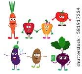 set of funny cartoon vegetables.... | Shutterstock .eps vector #581917234