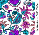 seamless pattern with fantasy... | Shutterstock .eps vector #581923834