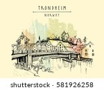 riverside and amazing historic... | Shutterstock .eps vector #581926258
