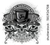 irish coat of arms with skull... | Shutterstock .eps vector #581926708