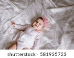 portrait of a little girl with... | Shutterstock . vector #581935723