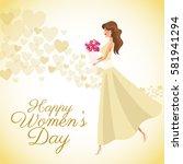 happy womens day card girl... | Shutterstock .eps vector #581941294
